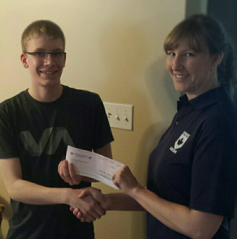 Isaac James, Local 30910, Medicine Hat, Alberta, awarded the Ken Green Scholarship