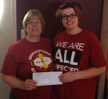Emily Jayne Simcoe, Local 50705, Teulon, Manitoba, awarded the Gary Smith Scholarship